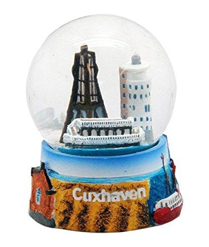 30034 Souvenir Schneekugel Cuxhaven Alte Liebe Kugelbake Feuerschiff 65mm
