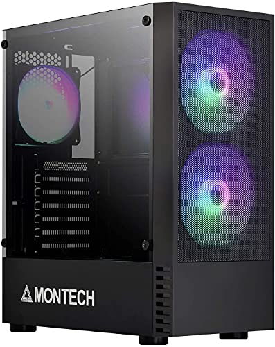 Montech X2 MESH Black - Compact ATX Mid Tower Case, Fine Mesh Front Panel, Pre-Installed 2 x 140mm, 1 x 120 mm Autoflow Rainbow Led Fans, High Airflow, Full Glass Side Panel