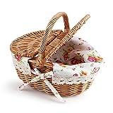 Picnic Canasta - Canasta de Almacenamiento de Picnic de óvalo con Tapa Doble Mimbre de Lino Floral para Camping de Vacaciones decoración para el hogar