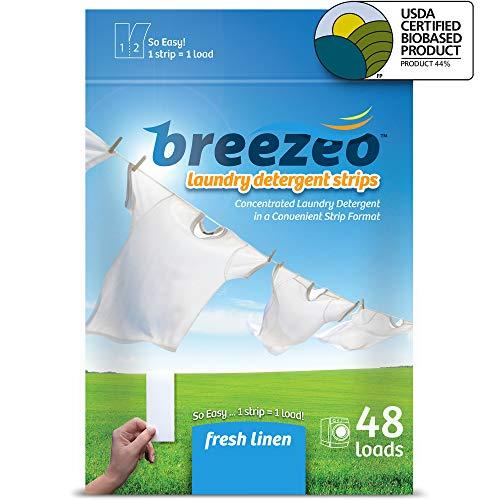 Breezeo Laundry Detergent Strips (Laundry Detergent Sheets), Fresh Linen Scent, 48 Loads ? More Convenient than Pods, Pacs, Liquids or Powders