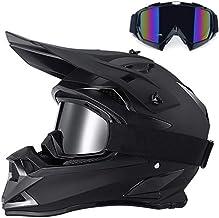 Casco de Motocross, Hombres Casco de Cross con Gafas, Casco Integral Deportes de Motos Off-Road Enduro Racing Downhill Casco BMX MTB Quad ATV Cascos de Motocicleta, Negro Mate,L