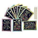 50 Hojas Scratch Art para niños, ANBET Dibujo Scratch Dibujar Arco iris Papel de Rascar con lápiz...