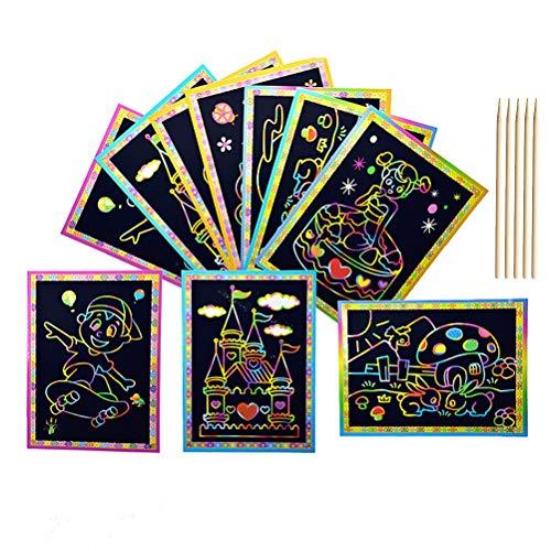 50 Blatt Kratzbilder Set für Kinder, ANBET Magic Regenbogenkratzpapier mit Holzstift Kindergarten, Früherziehung, Junge, Mädchen (Zufallsmuster)