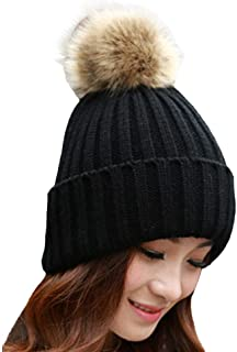 Tenworld Fashion Women Winter Rabbit Fur Ball Warm Hat Crochet Knitted Wool Cap