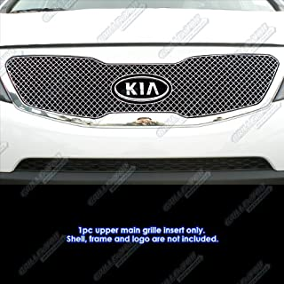 APS Compatible with 2011-2013 Kia Sorento Stainless Steel Micro-Frame Chrome X Mesh Grille Grill S18-S7576XK