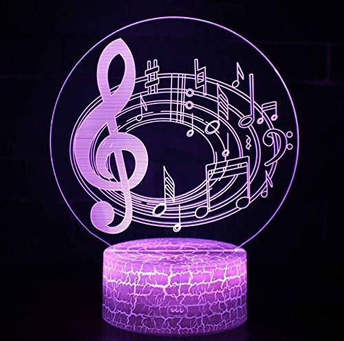 Treble Note Staves Theme Lámpara 3D Led Night Light 7 Cambio de color Touch Lámpara de humor Regalo de Navidad