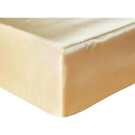 HOTNIU 1 Pièce Drap-Housse Draps de Lit en Tissu de Soie Imité, Drap-Housse en Satin Anti-Plis, Bonnet de 30 cm (54x75 (140 * 190cm), Doré)