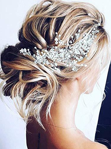 Unicra Bride Flower Wedding Hair Vine Crystal Bridal Hair Piece Rhinestone Party Hair Accessories...