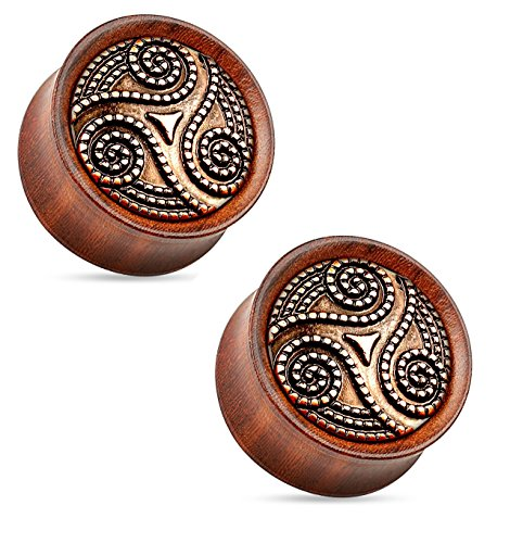 Dotted Tribal Swirl Organic Rose Wood Saddle Fit Double Flared Plugs Ear Gauges - Sold As Pair (6mm - 2GA)