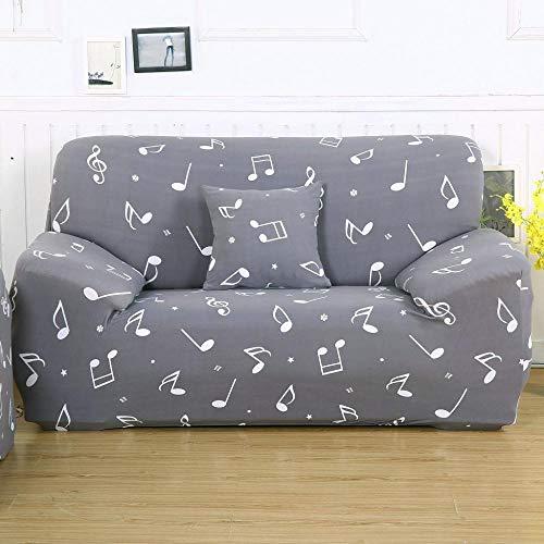 Funda Sofa 3 Plazas Ajustable Símbolo De La Música Gris Funda Elastica Sofa Chaise Longue Fundas Sofa Rinconera con Respaldo Antideslizante Protector de Muebles (190cm-230cm)