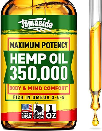 Hemp Oil 350000 - Anxiety & Stress Relief - 100% Natural & Efficient - Immune Support - Optimum Absorption & BIOAvailability - Ideal Omega 3, 6, 9 Source - Deep Sleep & Good Mood - NO GMO