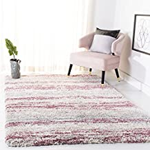 SAFAVIEH Fontana Shag Collection FNT842B Modern Stripe Non-Shedding Living Room Bedroom Dining Room Entryway Plush 2-inch Thick Area Rug, 3' x 5', Ivory / Pink