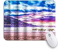HASENCIV ゲーミング マウスパッド,テーマを実行している素朴な山の湖の馬,マウスパッド レーザー&光学マウス対応 マウスパッド おしゃれ ゲームおよびオフィス用 滑り止め 防水 PC ラップトップ