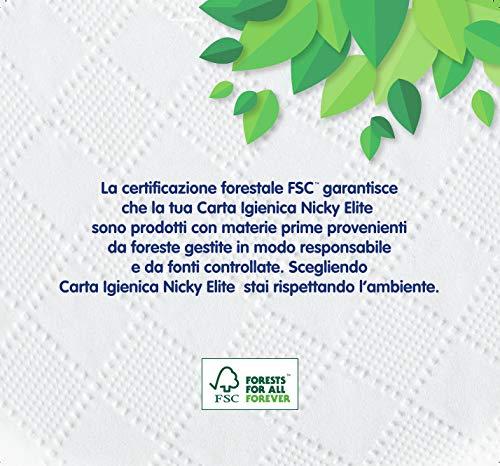 Nicky Elite Carta Igienica a 3 Veli   Confezione da 48 Rotoli   150 Strappi per Rotolo   Morbida e Resistente a Contatto con la Pelle   Dermatologicamente Testata   Carta 100% certificata FSC