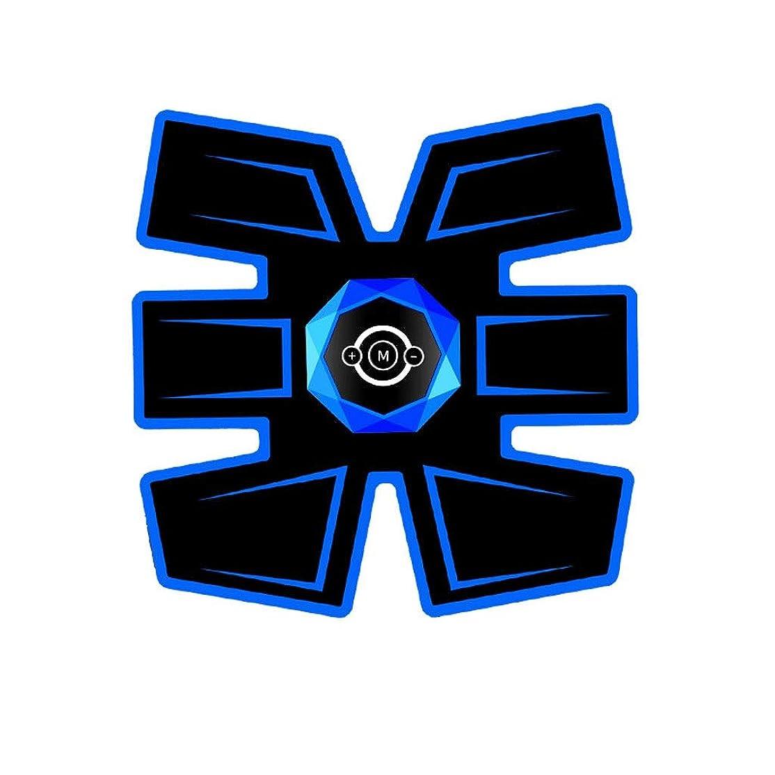ステンレスサイドボード怠けた腹筋トレーナーEMS筋肉刺激装置、インテリジェント音声ブロードキャストとUSB充電付き腹部調色ベルト、男性と女性の腹部脚用筋トナー (Color : Ordinary-Blue 1, Size : B)