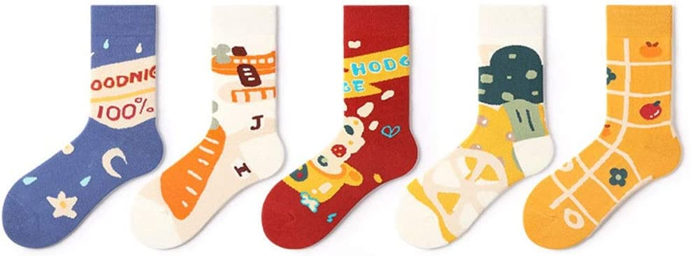 OMING Socks 5 Packs Printed Knit Socks Fun Colorful Festive for