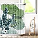 Aitsite Duschvorhang, Wasserdicht Bad Vorhang aus Polyestergewebe mit 12 Haken, Duschvorhänge Waschbar Anti-Schimmel 180 x 180 cm-Großes Blatt