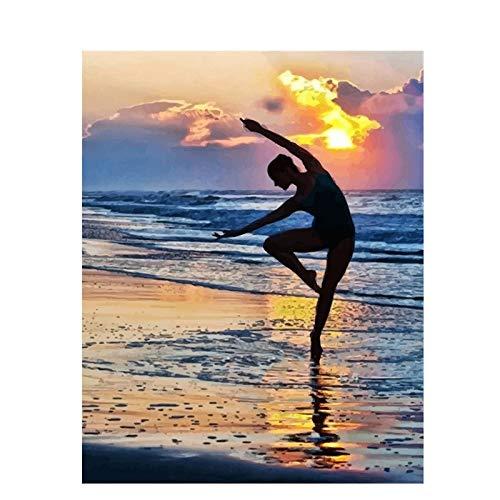 Zhxx Pintar Por Numeros Adultos Bailarina De Ballet Junto Al Mar Figura Ation De Boda Imagen Artística Regalo Para Niño Sobre Lienzo Sin Marco 40X50Cm