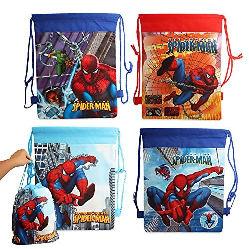 Yisscen Spiderman Partytüten, 4 Stück Kindergeburtstag Gastgeschenke Tüten Tasche, Mitgebsel Geschenktütchen Kordelzug Rucksack Turnbeutel für Kinder Junge Mädchen Superheld Geburtstag Deko