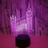 3D Luz De Noche Led LED Luz nocturna Architecture Big Ben selection ideal como regalo de cumpleaños para niños, niños y hombres Con interfaz USB, cambio de color colorido