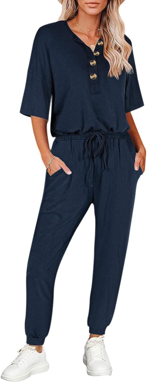 Linsery Women Summer Sweatsuit Button Short Sleeve Top Jogger Pants Tracksuit Sets