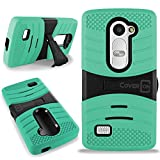 CoverON for LG Leon Case/LG Tribute 2 LS665 Case - [Titan Armor Series] Hybrid Hard and Soft Shockproof Dual Layer Protective Phone Cover with Kickstand - (Teal & Black)