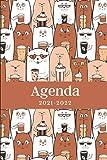 Agenda 2021-2022: Regalo Perfecto de Navidad, Papá Noel o Reyes Magos para Amantes del Café y los Gatos, Agenda Semanal y Mensual, Calendario