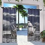 Cortinas de paisaje, impermeables, con estampado de piratas del Caribe, con imagen artística, aptas para pabellones de terraza al aire libre, 172 x 226 cm, azul, gris, gris pálido y blanco