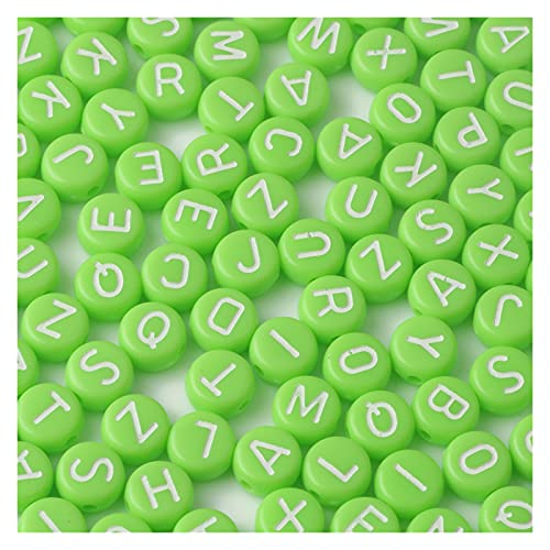 WEIMEIDA SLXZ608 - 200 cuentas acrílicas con letras rosas, redondas, planas, espaciadoras sueltas, para hacer joyas, hechos a mano, para niños, pulseras, pendientes, JQBB (color verde)