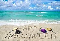 Qinunipoto 背景布 ハロウィン happy halloween 写真の背景 背景幕 青い空 緑色の水 キャンディー 浜辺 写真背景 人物撮影 撮影用 写真ブース撮影 背景ポスター 子供用 デジタル背景布 ビニール 2.5x1.8m