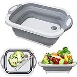Tabla de cortar plegable con colador, escurridores de platos de silicona de plástico de cocina plegable multifunción 3 en 1, escurridor de fregadero de almacenamiento, cesta de drenaje para frutas /