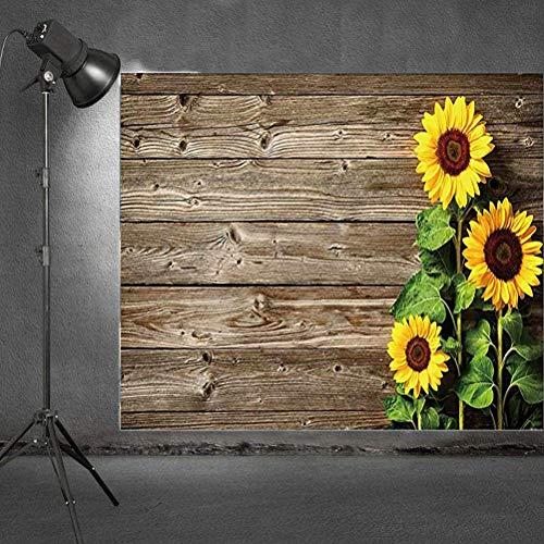 Uonlytech Telón de Fondo para fotografía, Textura de Madera rústica con telón de Fondo de Girasol, Fondo de Fotos para la Fiesta de cumpleaños Wedding Photo Studio (1Pcs)