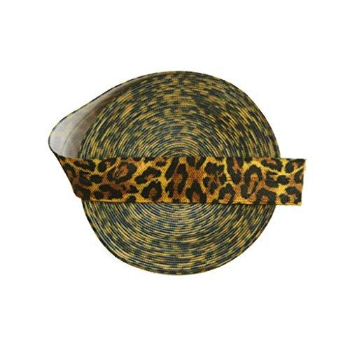 "DIY PARK 5 Yard 5/8"" Yellow Leopard Animal Print Fold Over Elastic Spandex Satin Band Lace Trim Baby Headband Hair Tie Tutu Dress Sewing Craft"