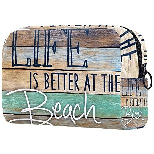 Borsa per cosmetici Borsa per il trucco Borsa da viaggio con pochette per cosmetici Borsa da toilette,la vita è migliore in spiaggia