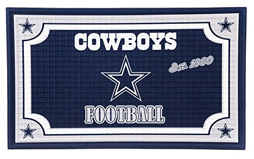 """Team Sports America NFL Dallas Cowboys Embossed Outdoor-Safe Mat - 30"""" W x 18"""" H Durable Non Slip Floormat for Football Fans"""