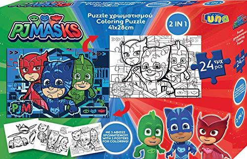 Luna 2in1 Puzzle Malpuzzle PJ Masks 24-teilig mit Ausmalbilder Format 41x28 cm