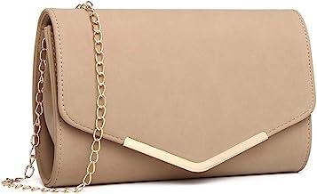 Miss Lulu Elegante Kettentasche Damen Tasche Clutch Bag Handtasche Hochzeit Abendtasche Umhängetasche Mädchen LH1756 Beige