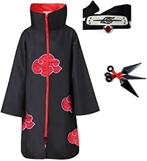4pcs, Unisex, Akatsuki, Cosplay, Costume, Halloween, Cloak, Headband, Ring, Itachi, Uniform, Naruto Fans