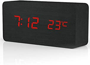 ساعة منبه خشبية خشبية من روبيك، إضاءة LED خشبية قابلة للتعديل سطوعًا للتحكم الصوتي، منبه خشبي مع التاريخ/درجة الحرارة وشاح...