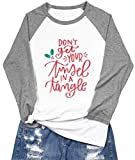 Don't Get Your Tinsel in Tangle Shirts Christmas Shirts for Women Christmas Raglan Baseball Tee Shirt Tops Plus Size Gray