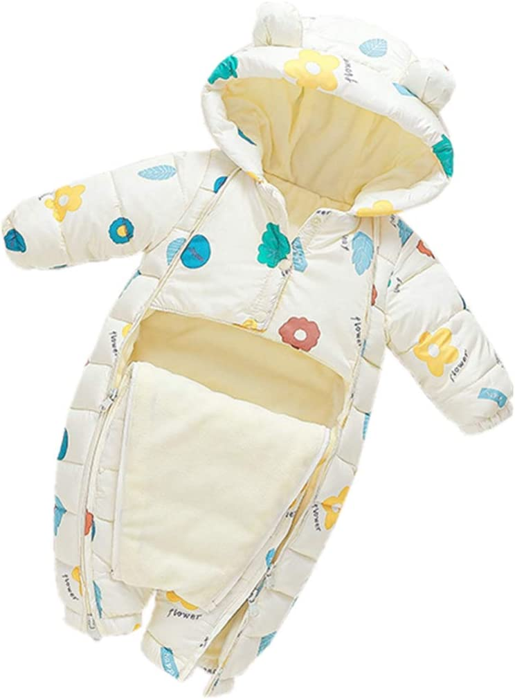 Mono de Invierno para Bebé Niños Niñas Traje de Nieve Mameluco de Lana con Capucha Espesar Peleles Infantil Pijama Caliente Ropa de Dormir