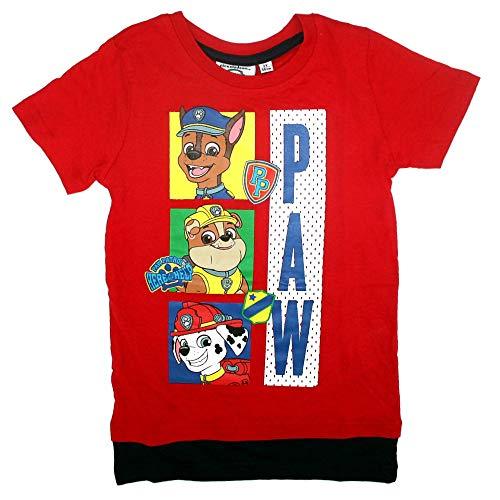 PAW PATROL Kinder T-Shirt Jungen Größe 98-128 | Kleine Helden, Größe:128, Farbe:Rot
