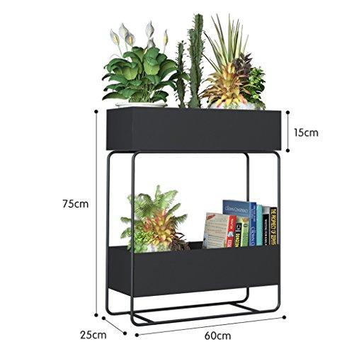 Yxsd Support de Fleur étagère étagère Multi-étages Balcon intérieur en Fer forgé Salon Pot de Fleur au Sol, 75x60x25cm (Color : Black)