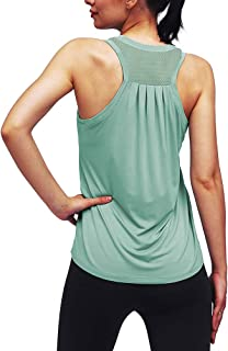 Womens Workout Tank Tops Yoga Athletic Loose Mesh Back Exercise Fitness Shirts