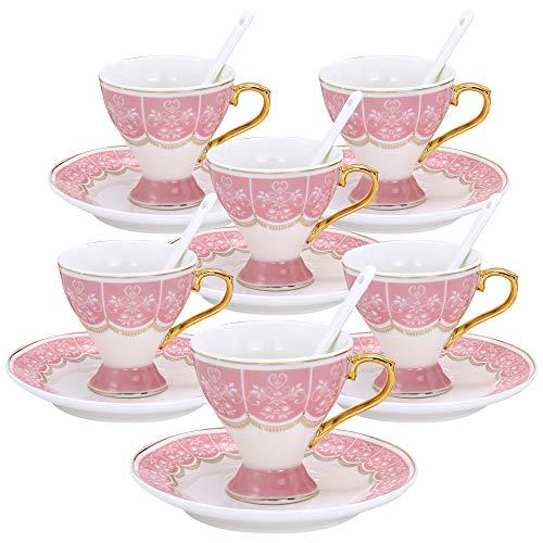 ufengke Set 6 Tazze da caffè Espresso in Piccola capacità, Tazzine da caffè Calice in Ceramica con Motivo Fiori, Tazze da tè con Piattino in Porcellana, 100 ml - Rosa