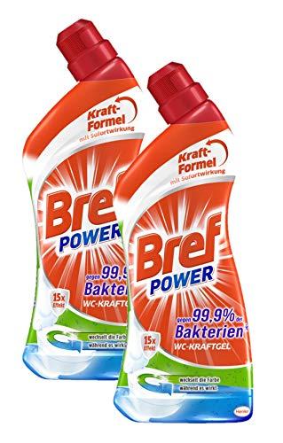 Bref Power WC-KraftGel 15x Effekt gegen 99,9% der Bakterien, WC Reiniger extrastark für eine hygienische Sauberkeit, (2er Pack 2 x 1 Liter)