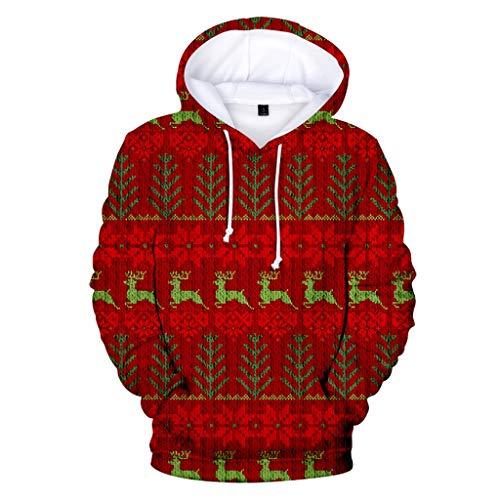KPILP Herren Fun Hoodie Weihnachten Kapuzenpullover Langarm Sweatshirt 3D Druck Lustige Hoodie Pullover mit Kapuze Herbst Winter Xmas Party Outwear