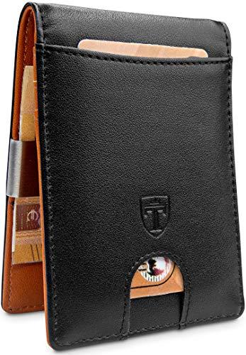 𝗖𝗢𝗠𝗣𝗔𝗖𝗧𝗢 𝗬 𝗙𝗨𝗡𝗖𝗜𝗢𝗡𝗔𝗟 - A pesar de su pequeño tamaño, la cartera de alta calidad tiene compartimentos para 4 tarjetas. El compartimento exterior deslizante permite un acceso rápido a las tarjeta. 𝗣𝗜𝗡𝗭𝗔 𝗣𝗔𝗥𝗔 𝗕𝗜𝗟𝗟𝗘𝗧𝗘𝗦 𝗜𝗡𝗧𝗘𝗚𝗥𝗔𝗗𝗔 - La pinza esta firmement...