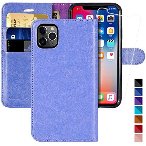 MONASAY - Funda tipo cartera para iPhone 11 Pro Max (6,5 pulgadas, protector de pantalla de cristal incluido), bloqueo RFID, funda de piel con tarjetero para iPhone 11 Pro Max
