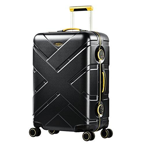 Eminent Valigia Gold Crossover 67cm 66L Telaio in alluminio 4 Ruote doppie silenziose Lucchetto TSA Nero giallo